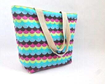 regalo mujer, regalo chica, bolso tote, totebag, ondas, bolso totebag, bolso, color pastel, color azul, bolsa playa, bolsa piscina, gimnasio