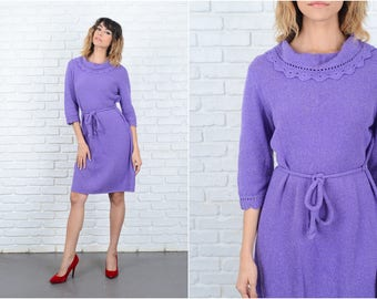 Vintage 70s Purple Knit Dress Crochet Wool Sweater knee length Medium M 9254