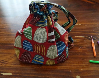 Red Beanie print drawstring project bag