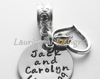 Personalized charm for European charm bracelet - Large hole charm - ANY text that fits - See ALL photos!!