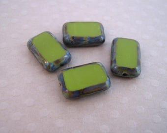 Lot de 4 rectangles 8x12 mm Avocado Picasso - CBR812-0245