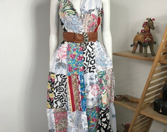 Vtg 80s patchwork cotton madras summer dress