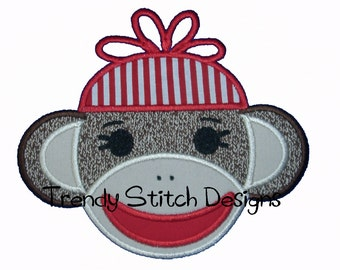 Sock Monkey Boy Applique Design Machine Embroidery Design INSTANT DOWNLOAD