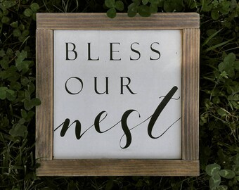 Bless Our Nest, Framed Wood Sign, Farmhouse Style, Rustic Decor, Wedding Gift, Housewarming Gift