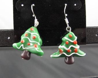 Ceramic Christmas Tree Earrings.