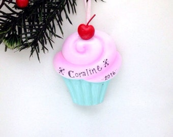 Cupcake Personalized Christmas Ornament / Pink Frosting / Cupcake Ornament / Gift for Kids / First Birthday
