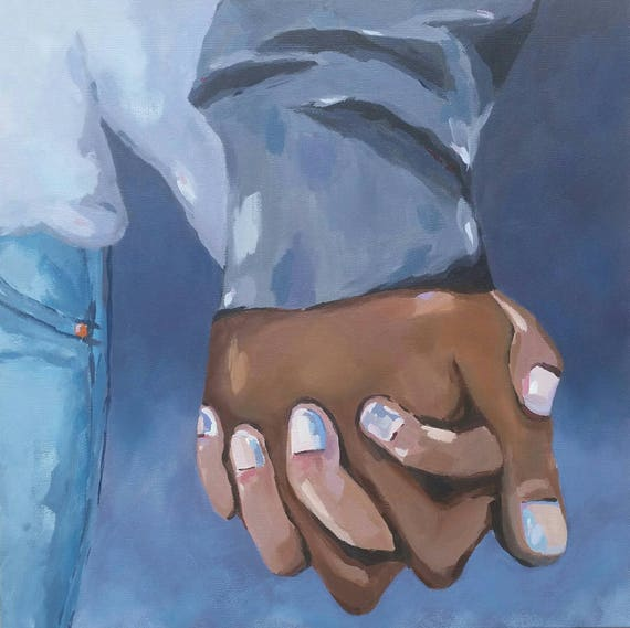 Holding hands romantic art oil painting, this is us, couple holding hands, love, husband and wife, holiday gift idea, clasped hands together