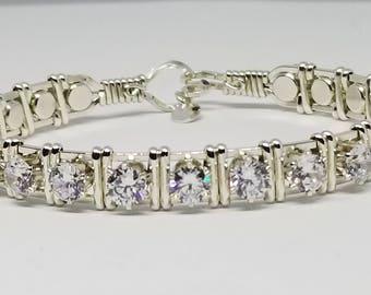 Luxury Jewelry, Silver CZ bracelet, Argentium Silver,Cubic Zirconia,