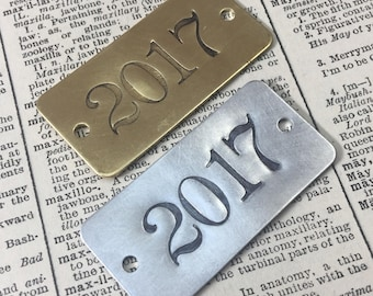 Hand Punched Brass Or Aluminum Numbered Tags   Custom Numbered Locker Tags    Rectangle Year Date