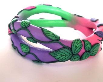 Bangle Bracelet, Polymer Clay Bracelet, Abstract Bracelet, OOAK