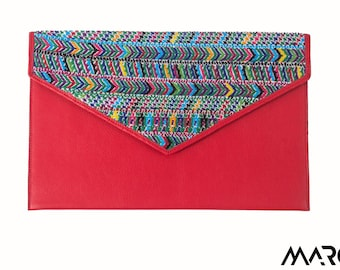 red leather clutch with embroidery