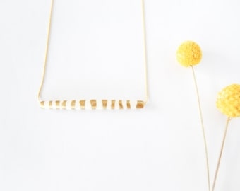 Gold Leaf Zebra - Hand Painted Stripes Bar Necklace - Gift for Her - Tube Necklace - Buffalo Bone Jewelry - Minimalist - Made to Order