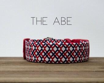 "Modern Patriotic Red, White, & Blue Dog Collar ""The Abe"""