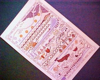 1959 1984 Alaska Statehood Cross Stitch Sampler Silver Anniversary pattern pioneer vintage