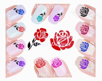 Nail Decals, Water Slide Nail Stickers, Rose