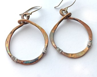 Boho Earrings, Large hoop Earrings, Mixed Metal Earrings, Tribal Earrings, Hammered Hoop Earrings, Tribal Earrings, Gift for Her, Earrings