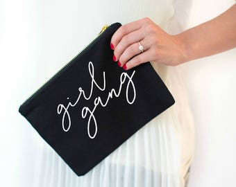 girl gang, girl power, cosmetic bag, girl pwr, feminism, girl boss, makeup bag, bachelorette gift, bridal party gift, gift for her, feminist
