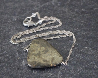 Pyrite Necklace, Slab Pendant, Pyrite Pendant, Chain Necklace, Pyrite Jewelry, Pyrite Slab Pendant