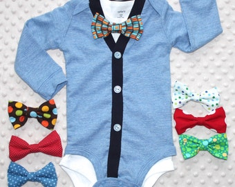 Baby Boy Cardigan and Bow Tie Set,  Baby Suit, Baby Boy Outfit, Baby Boy Clothes, Trendy Baby Boy Outfit