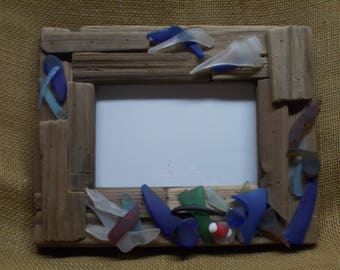Driftwood and Faux Sea Glass Frame 8x10