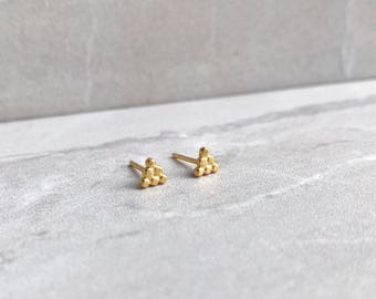 Triangle stud earrings- dot pattern - gold plated
