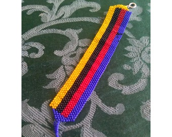 Peyote Stitched Seed Beaded Stripe Bracelet For him