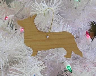 Cardigan Welsh Corgi Ornament in Wood or Mirror Acrylic Customizable with Name