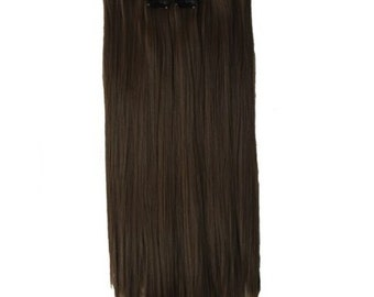 """22"""" Full Head Clip in Hair Extensions 8 pcs with 18 clips Darkest brown Straight shade #4"""