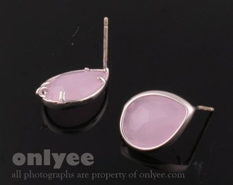 1pair/2pcs-11mmX14mmSilver plated, Glass Tear drop, PGO, earrings, 92.5 sterling silver post-IcePink(M313S-B)
