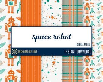 Robot digital paper | Rocket digital paper | Astronaut scrapbook paper | Spaceship digital paper | Saturn Digital Paper | Moon Digital Paper