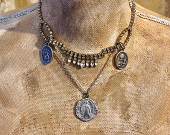 Vintage Re~Purposed Assemblage Statement Necklace