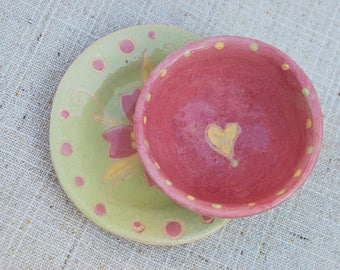 Serving dish Pink pottery serving plate Pasta bowl Salad bowl Ceramic bowl serving set Ceramic Plate Dinnerware Small dish ceramic sets