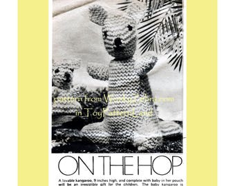 Vintage Kangaroo Hop Toy Knitting Knit Knitted Pattern PDF 560 from WonkyZebra