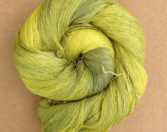 Hand Dyed Silk Yarn, Spun Silk Yarn, Weaving, Lace Knitting,  Lacemaking, 60/2 weight, No.82 Charteuse, Ref.742
