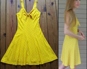 South Beach vintage 80's 90's S XS yellow floral polka-dot retro tie front fit & flare sun dress