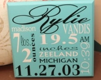 Wooden Sign, Birth Announcement -  Personalized wood sign with baby name, birth date, weight, etc