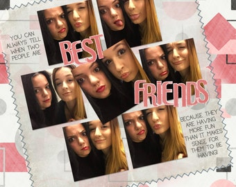 Pre-made Printable Digital Scrapbook Page Layout - BEST FRIENDS - You Print