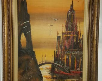 """Vintage Oil Painting """"Quiet Reflection"""" by Kai Rhyde Vintage Wood Framed Art Extra Large Painting"""