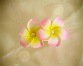 Pink double frangipani flower hair clip