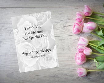 Personalised Wedding Thank You Cards with Matching Envelopes Pack Of 10 TY62