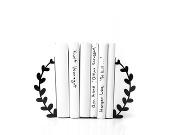 Metal bookends  -Wreath- functional decor for modern home // unique housewarming present // FREE worldwide shipping //