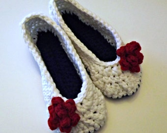 Womens Crochet Slippers with rose in red white and blue Perfect  Military Wife Gift