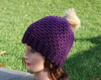 Ready to ship Cochet Hat,Purple Crochet hat,Textured Beanie,Crochet slouch Hat,Womens Slouch Beanie,Textured Slouchy,Handmade,Christmas