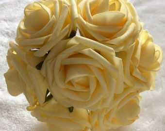 Fake yellow flowers etsy 100 pcs light yellow canary flowers for wedding fake foam roses pale yellow bridal bouquets flowers mightylinksfo