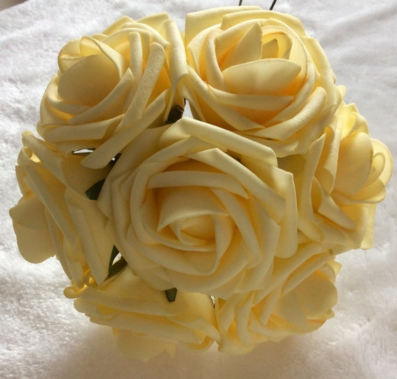 100 pcs light yellow canary flowers for wedding fake foam roses pale 100 pcs light yellow canary flowers for wedding fake foam roses pale yellow bridal bouquets flowers wedding table centerpiece decor lnrs011 from mightylinksfo