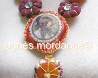 """Textile necklace, unique, """"Mucha"""""""
