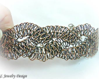 Antiqued Copper Wire Macrame Bracelet