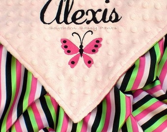 Baby Girl Satin and Minky Lovie, Security Blanket for Baby Girls, Personalized Butterfly Embroidery, Small Lovie Size, 18x18, Please Read