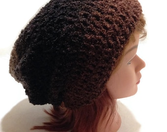 Fuzzy Ombre Hat Brown Black Tan Hat Slouchy Beanie Brown Ombre Hat Unisex Winter Hat Hipster Beanie Slouchy Beanie Women