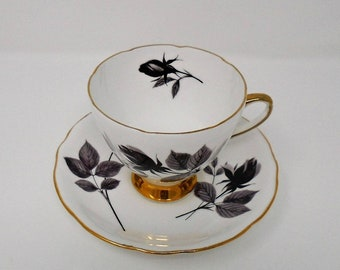 Gorgeous Black Roses Gladstone China Duo, Cup & Saucer